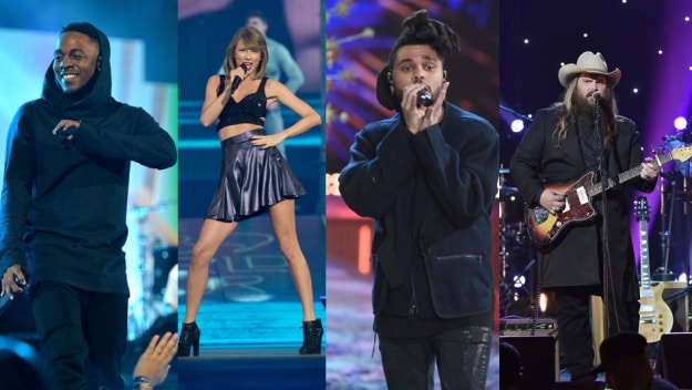 Kendrick Lamar (Photo by Mike Coppola/Getty Images); Taylor Swift (Photo by Steve Exum/Getty Images for TAS); The Weeknd (Photo by Jamie McCarthy/Getty Images); Chris Stapleton (Photo by Theo Wargo/Getty Images for Blackbird)