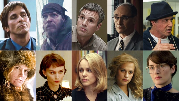 """For Best Supporting Actor (from top left): Christian Bale, """"The Big Short""""; Tom Hardy, """"The Revenant""""; Mark Ruffalo, """"Spotlight""""; Mark Rylance, """"Bridge of Spies""""; and Sylvester Stallone, """"Creed."""" Best Supporting Actress nominees (from bottom left): Jennifer Jason Leigh, """"The Hateful Eight""""; Rooney Mara, """"Carol""""; Rachel McAdams, """"Spotlight""""; Alicia Vikander, """"The Danish Girl""""; and Kate Winslet, """"Steve Jobs."""""""