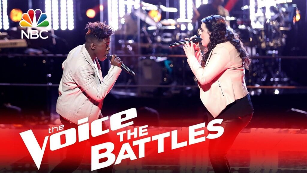 Brittney Lawrence and Paxton Ingram from Team Blake on The Voice Season 10 Battle Rounds