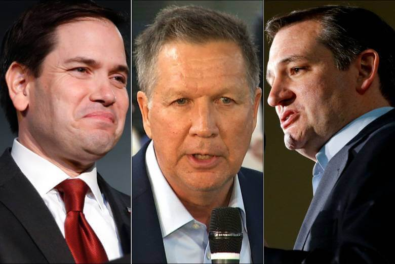 Election 2016: Republican candidates Marco Rubio, John Kasich, Ted Cruz (from left to right)