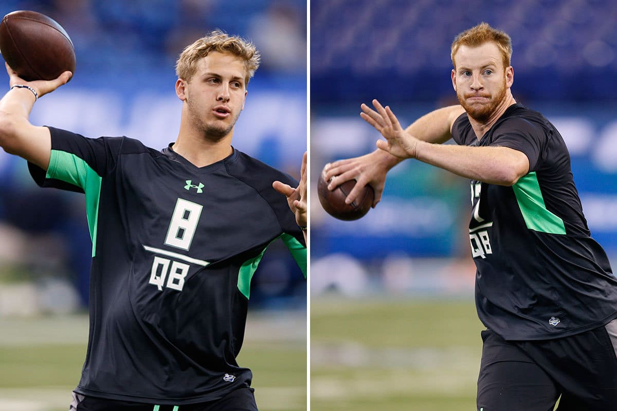 Jared Goff and Carson Wentz, the top two quarterbacks in 2016 NFL draft picks.