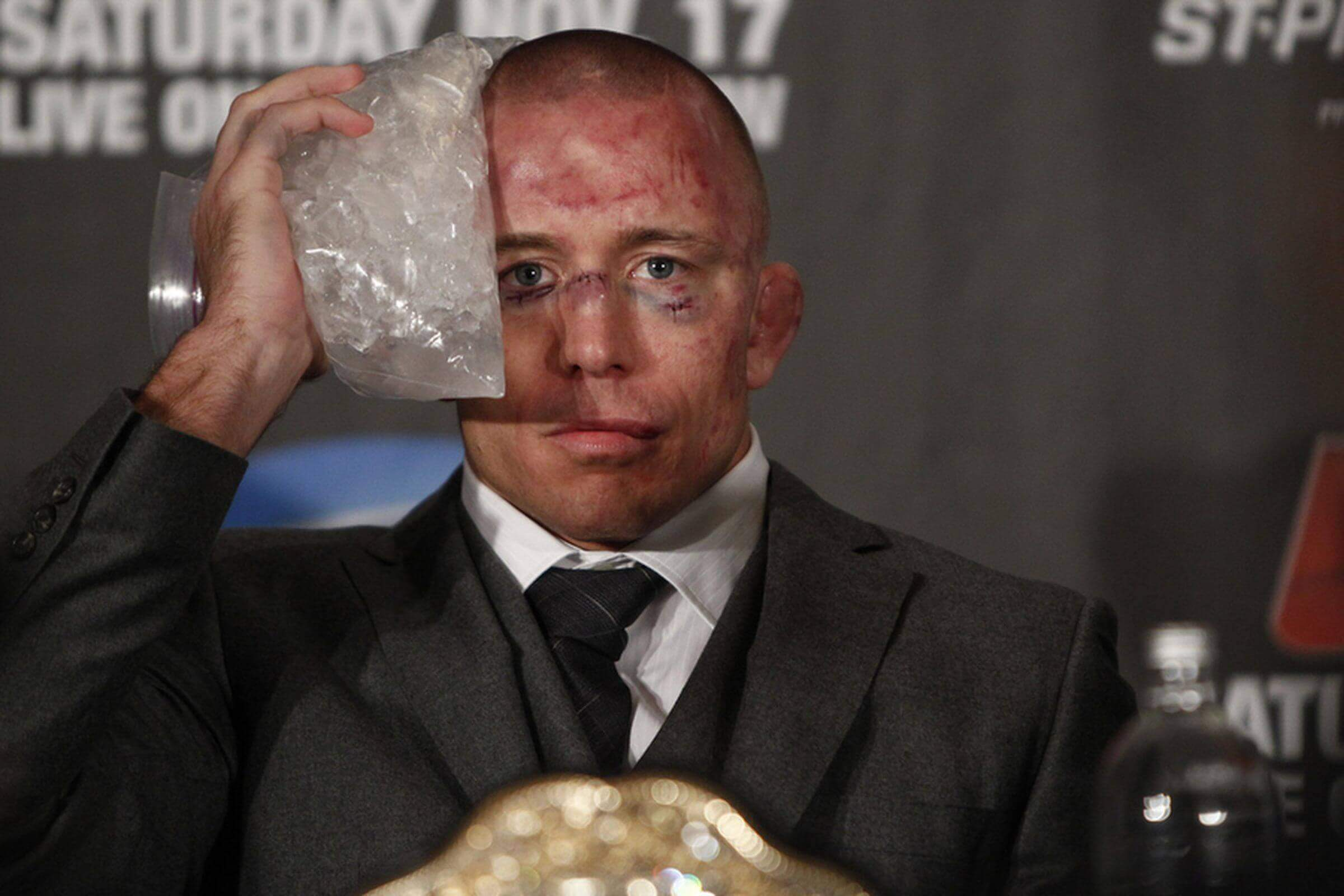 st. pierre ices face after ufc match